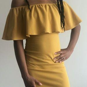 Off the shoulder mustard dress